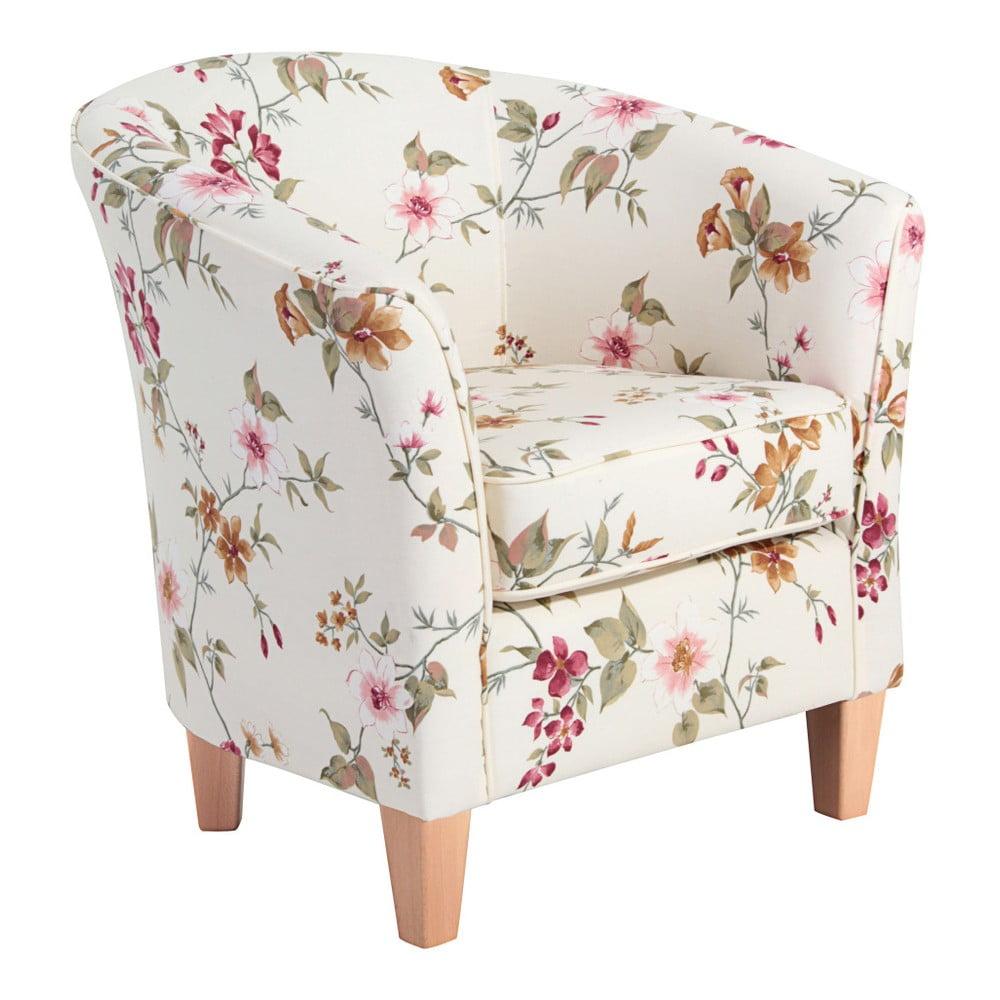 Biały fotel w kwiaty z jasnobrązowymi nogami Max Winzer Livia