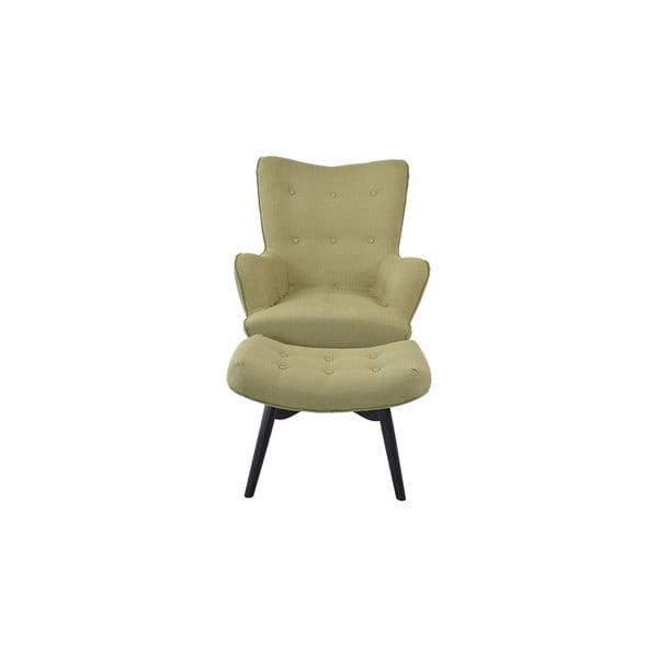 Fotel z podnóżkiem Ordinary, zielony