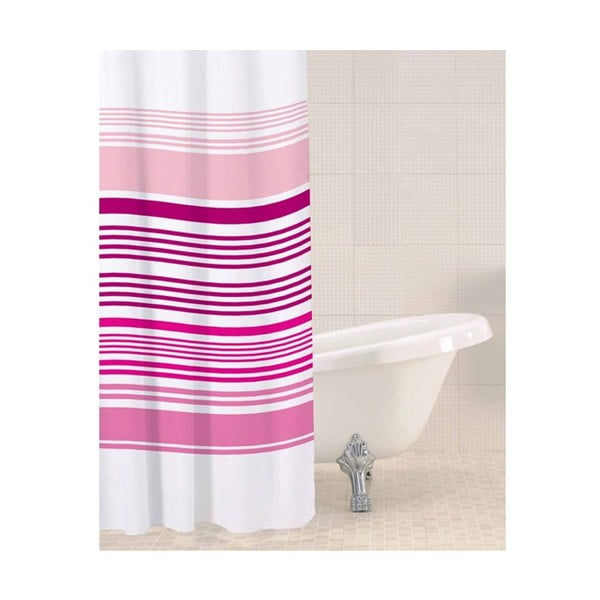 Zasłona prysznicowa Raspberry Stripe, 180x180 cm