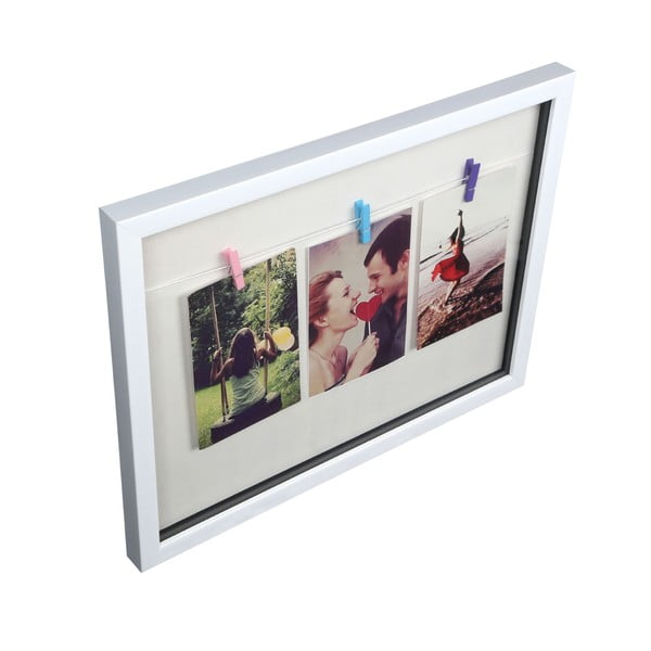 Ramka na zdjęcia z 3 klamerkami Premier Housewares White Peg