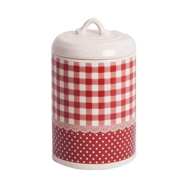 Ceramiczny pojemnik Red Dots&Checks, 17 cm