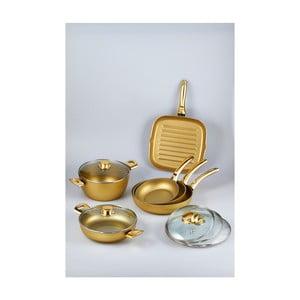 Komplet 5 patelni i garnka Bisetti Stonegold Gold Handles