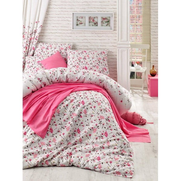 Komplet narzuty, prześcieradła i poszewki na poduszkę Flomar Pink, 160x235 cm