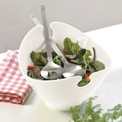 Zestaw białej miski i sztućców do sałatek Steel Function Milano