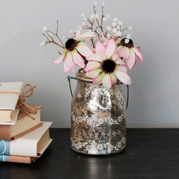 Szklany wazon ze sztucznymi kwiatami Susan, 22 cm