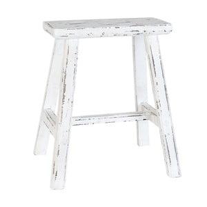 Biały drewniany stołek Clayre & Eef
