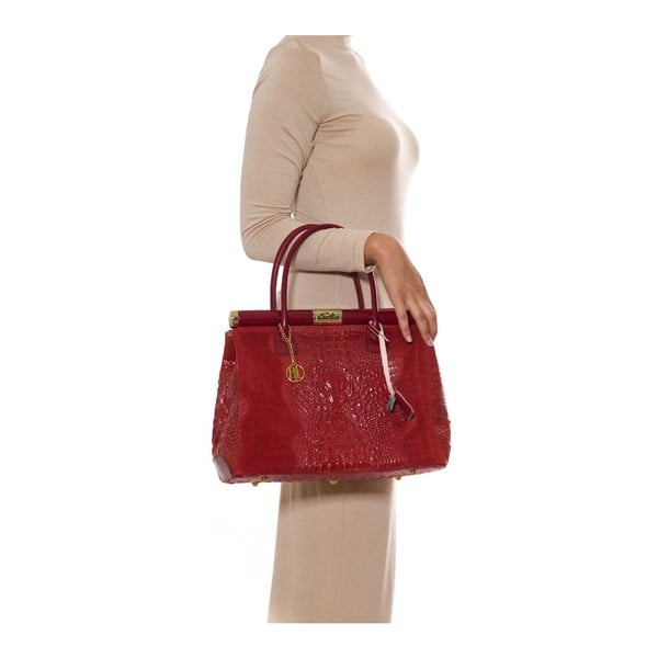 Skórzana torebka Anna Luchini 825 Rosso