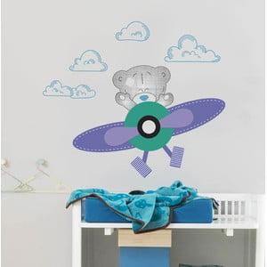 Naklejka ścienna Niedźwiadek i samolot, 2 arkusze, 70x50 cm