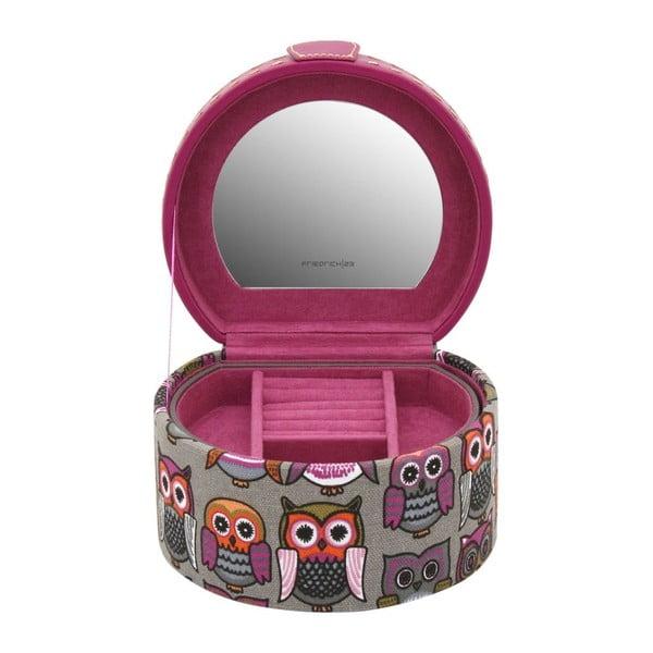 Różowa okrągła szkatułka  Owlivia