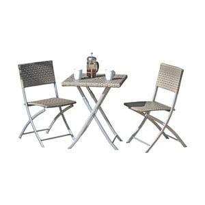 Zestaw 2 szarych krzeseł ogrodowych i stołu ADDU Norfolk