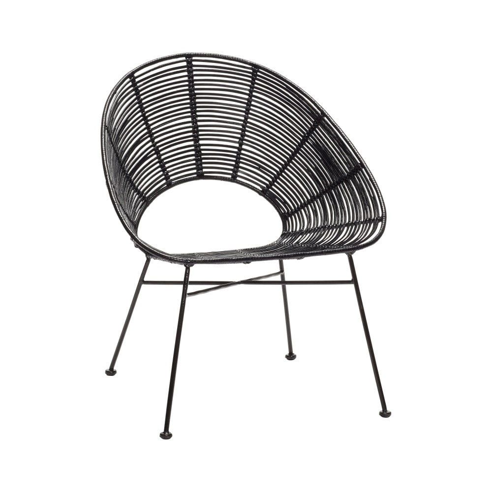 Czarne krzesło rattanowe Hübsch Aslog