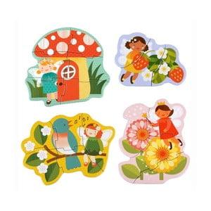 Zestaw 4 rodzajów puzzli Petit collage Fairy Friends