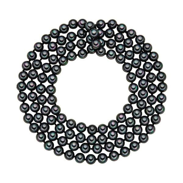 Perłowy naszyjnik Muschel, antracytowe perły 8 mm, długość 120 cm