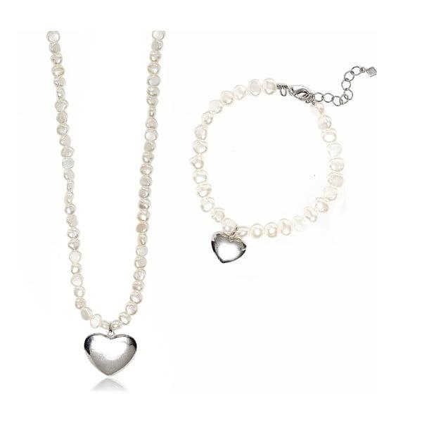 Komplet naszyjnika i bransoletki z pereł słodkowodnych Love