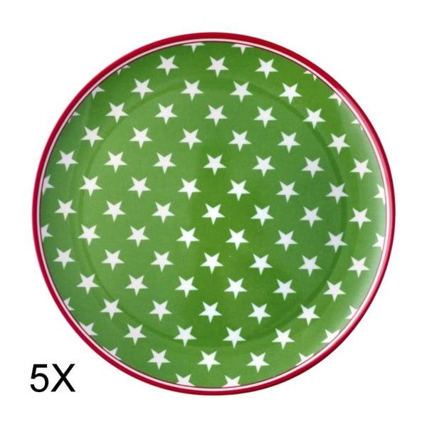 Zestaw 5 talerzy Star Green