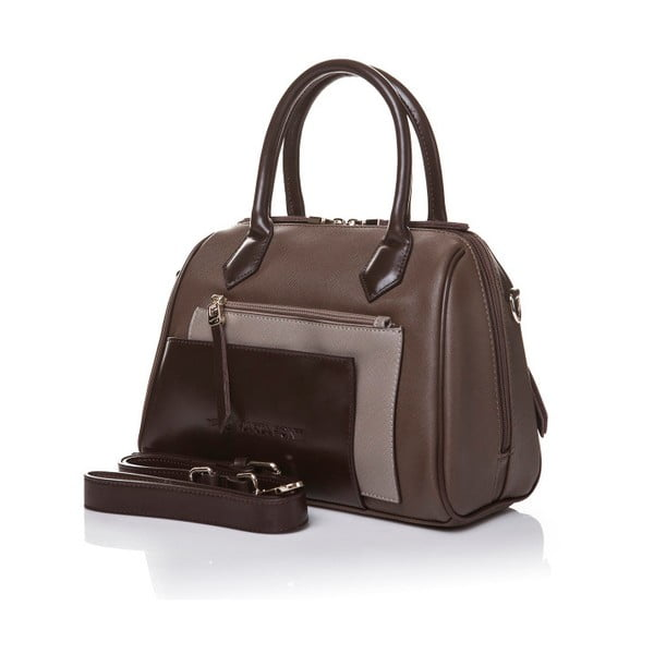 Skórzana torebka do ręki Marta Ponti Classy, jasnobrązowa/ciemnobrązowa
