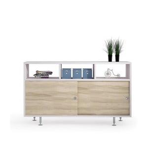 Biała szafka z drzwiczkami i z dekorem drewna wiązu Terraneo