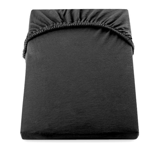 Czarne bawełniane prześcieradło elastyczne DecoKing Amber Collection, 180-200x200 cm