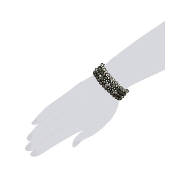 4-rzędowa bransoletka z szarobiałych pereł ⌀ 6 mm Perldesse Beria, długość 19 cm