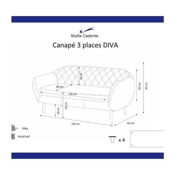 Czarna sofa 3-osobowa Scandi by Stella Cadente Maison Diva