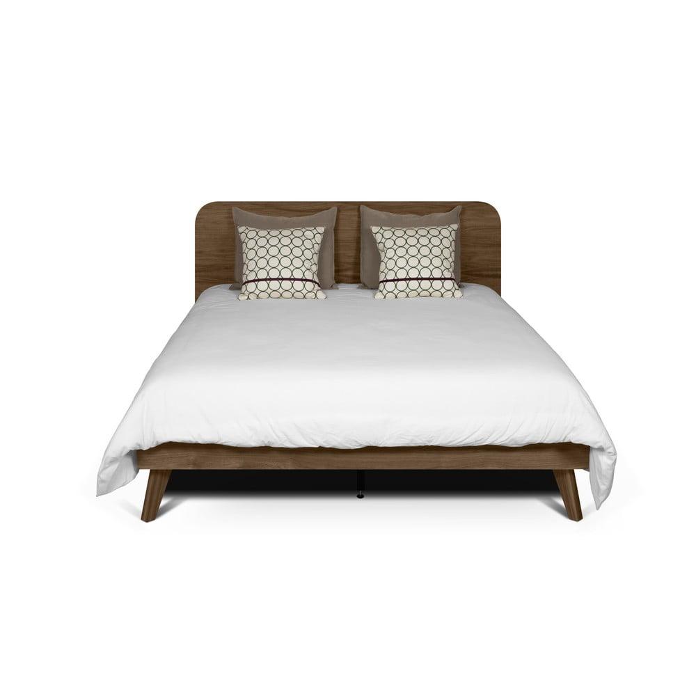 Ciemnobrązow łóżko TemaHome Mara, 180x200 cm