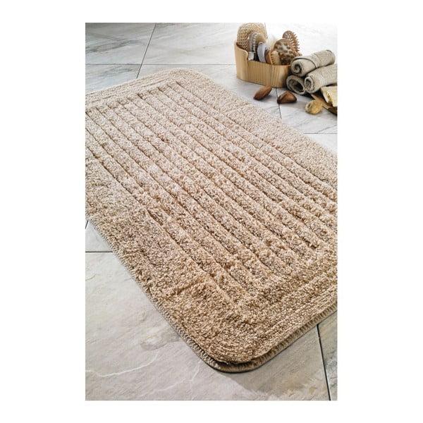 Dywanik łazienkowy Cotton Stripe Beige, 60x100 cm