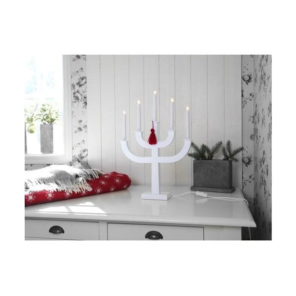 Biały świecznik LED z czerwonym frędzlem