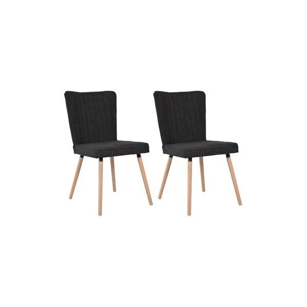 Zestaw 2 krzeseł do jadalni Nils, czarna tapicerka/dębowe nóżki