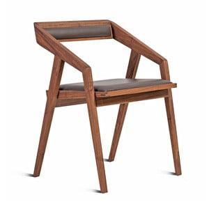 Krzesło z litego drewna orzechowego Charlie Pommier Serious