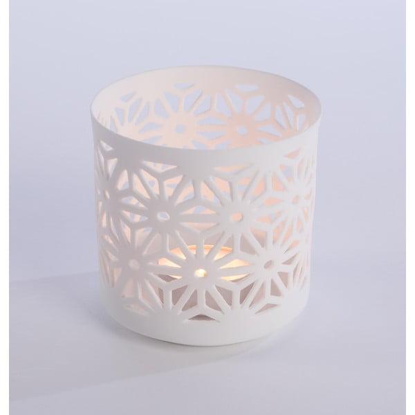 Porcelanowy świecznik Flowers 9x9 cm, biały