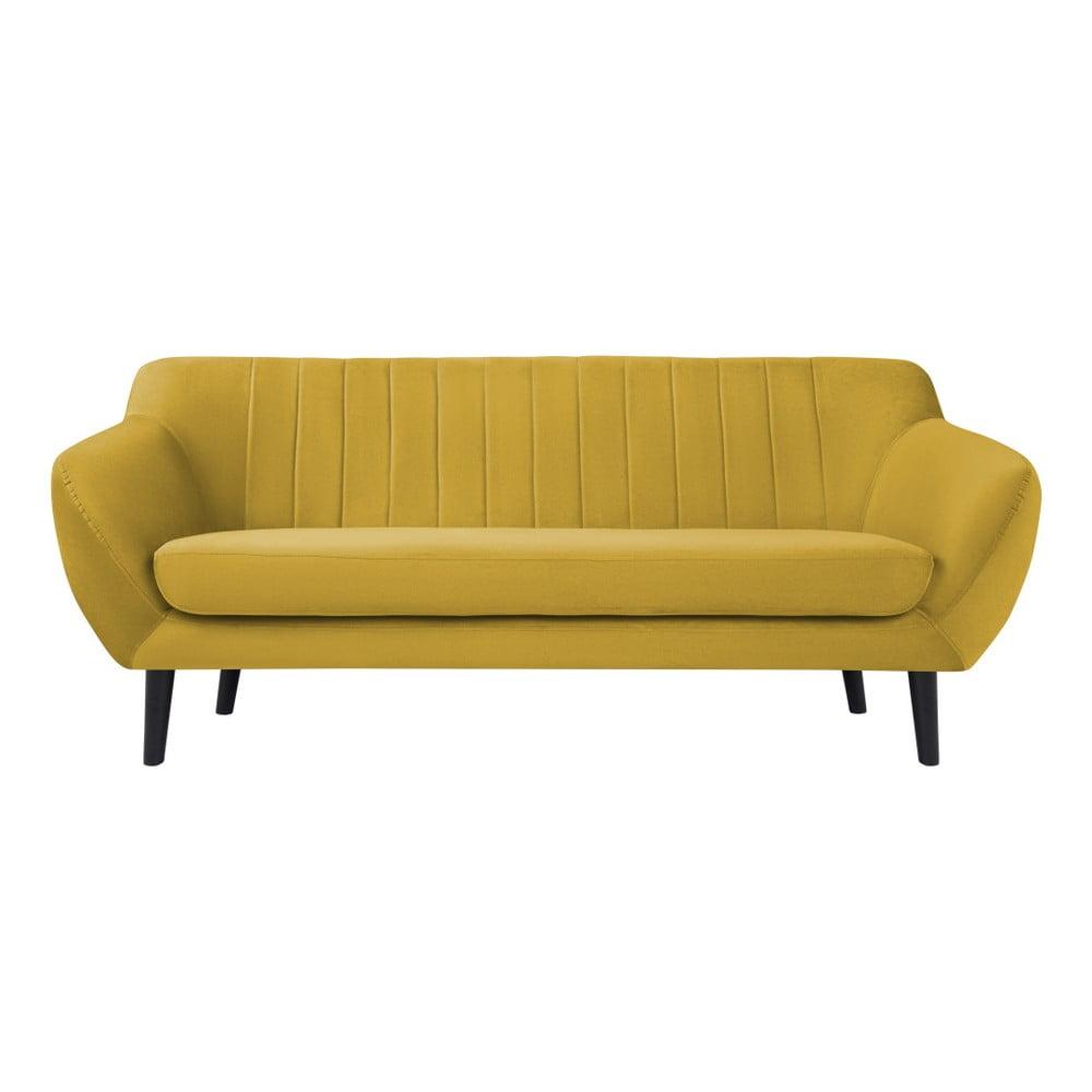 Żółta sofa 2-osobowa z czarnymi nogami Mazzini Sofas Toscane