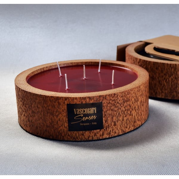 Palmowa świeczka Legno Round o zapachu owoców egzotycznych, 80 godz.