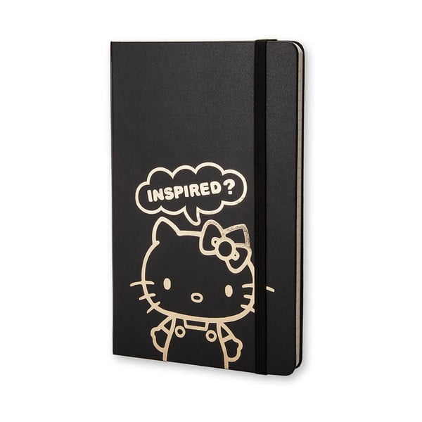 Czarny notatnik w linie Moleskine Hello Kitty, mały
