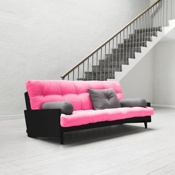 Sofa rozkładana Karup Indie Black/Magenta/Amarillo