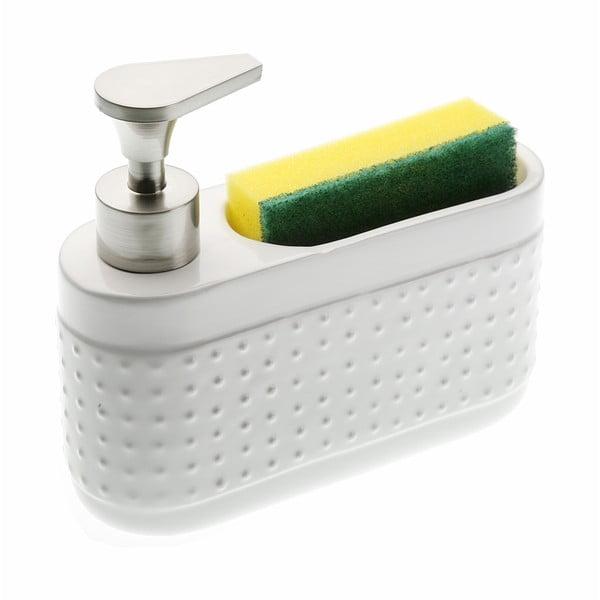 Biały dozownik do mydła ze stojakiem na gąbkę Versa Scourer