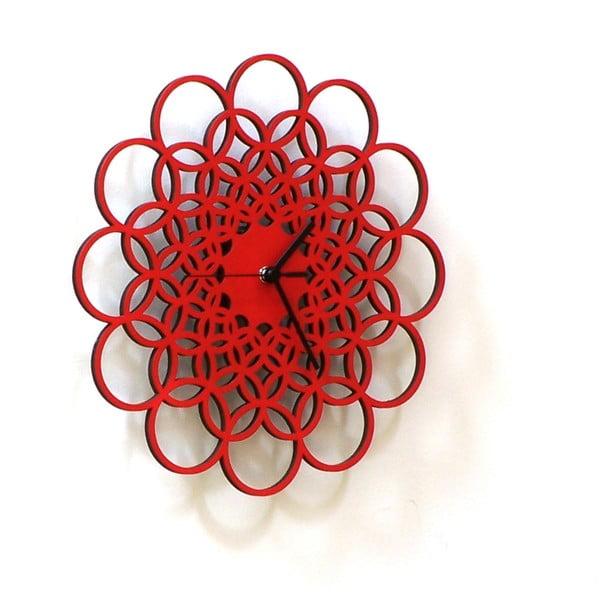 Zegar drewniany Rings, czerwony, 29 cm