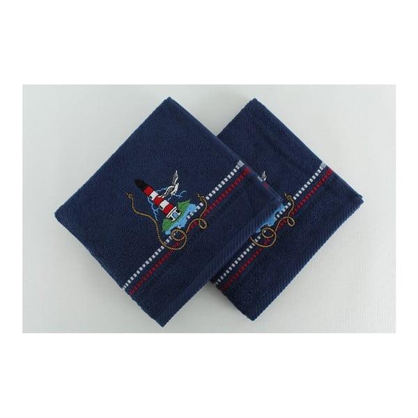 Zestaw 2 ręczników Marina Dark Blue Denis, 50x90 cm