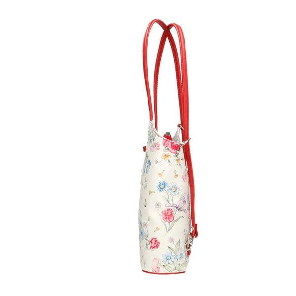 Skórzena torebka z czerwonymi detalami Chicca Borse Paraya
