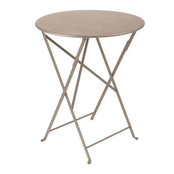Jasnobeżowy składany stół metalowy Fermob Bistro