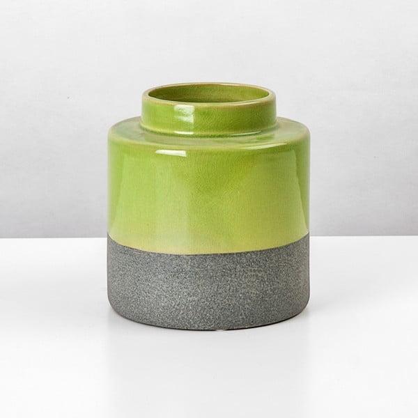Ceramiczny wazon Jungle Limetka, wysokość 16 cm