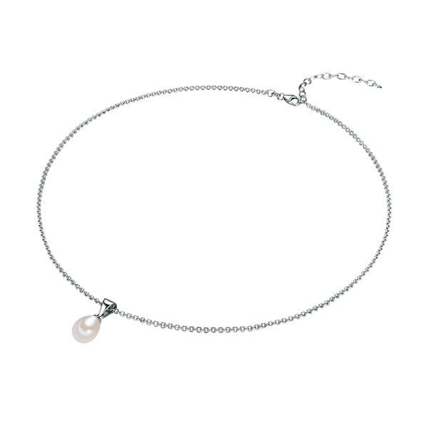 Srebrny   naszyjnik z białą perłą Chakra Pearls, 42 cm