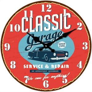 Szklany zegar W garażu, 34 cm