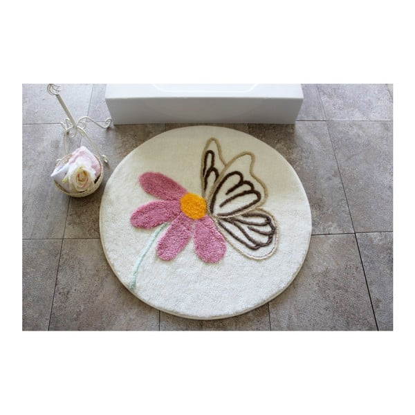 Dywanik łazienkowy z motywem kwiatów Alessia, Ø 90 cm
