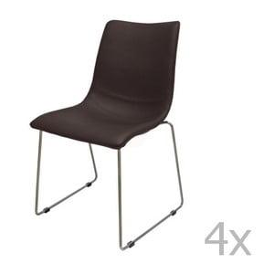 Zestaw 4 brązowych krzeseł Canett Delta