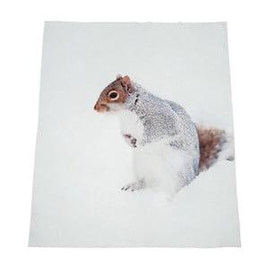Biały koc J-Line Squirrel, 130x160 cm