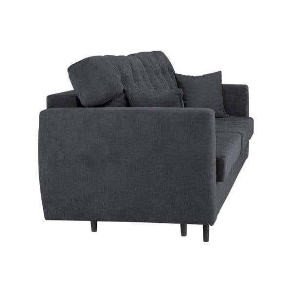 Ciemnoszara 3-osobowa sofa rozkładana ze schowkiem Cosmopolitan design Rotterdam