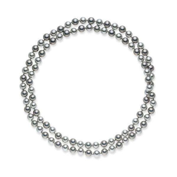Szaro-srebrny naszyjnik perłowy Pearls Of London Mystic, dł. 90 cm