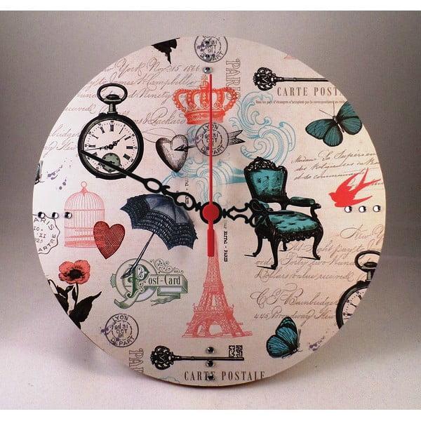Zegar ścienny Carte Postale, 30 cm