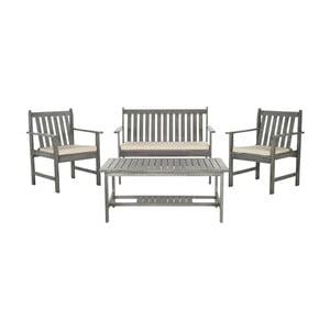 Szary zestaw stołu ogrodowego i krzeseł z drewna akacji Safavieh Mystique