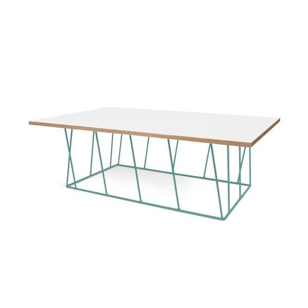 Biały stolik z zielonymi nogami TemaHome Helix, 120 cm